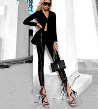 Maxi Black Tie Bodycon Pants FP19271-Black