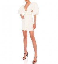 White Tie Cut Out Mini Mid Sleeve V Neck Bodycon Dress FP19408-White
