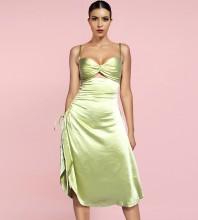 Light Green Tie Cut Out Midi Sleeveless Strappy Bodycon Dress FP21433-Light-Green