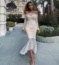 Apricot Off Shoulder Long Sleeve Over Knee Lace Evening Bodycon Dress FSP19045-Apricot
