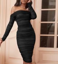 Mini Black Off Shoulder Long Sleeve Wrinkled Bodycon Dress FSP19054-Black