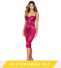 Rose Strapy Sleeveless Over Knee Backless Bodycon Dress FSP19061-Rose