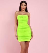 Fluorescent Green Strapy Sleeveless Mini Mesh Bodycon Dress FSP19067-Fluorescent-Green