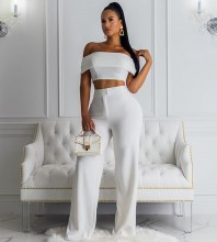 White 2 Piece Mid Sleeve Off Shoulder Bodycon Jumpsuits FSP19090-White