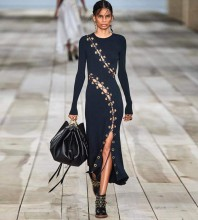 Over Knee Black Round Neck Long Sleeve Tie Metal Ornamental Buckle Bodycon Dress FSP19270-Black