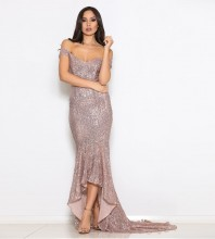 Pink Off Shoulder Short Sleeve Maxi Sequined Fishtail Evening Bodycon Dress FSY003-Pink