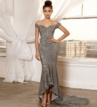 Silver Off Shoulder Short Sleeve Maxi Sequined Fishtail Evening Bodycon Dress FSY003-Silver