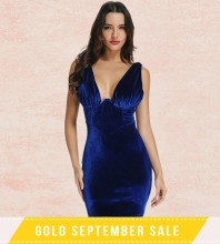 Blue V Neck Sleeveless Mini Back Zipped Draped Party Bodycon Dress FSY004-Blue