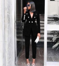 Black V Neck Long Sleeve Maxi Metal Studded Fashion Bodycon Suit FSY006-Black