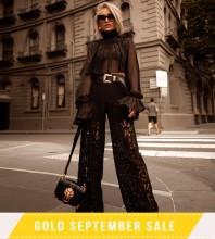 Black High Neck Long Sleeve 2 Piece Lace Fashion Bodycon Set FSY007-Black