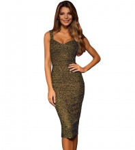 Gold Strappy Sleeveless One Piece Lace Short Sexy Bodycon Dress FSY009-Gold