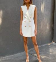 White V Neck Sleeveless Mini Fashion Bodycon Dress FSY19010-White