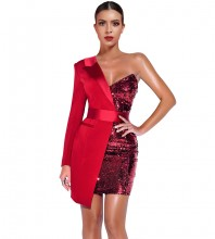 Mini Red One Shoulder Long Sleeve Sequined Girdle Bodycon Dress FSY19185-Red