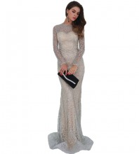 Silver Sequins Maxi Long Sleeve Round Neck Prom Dress FT8581-Silver