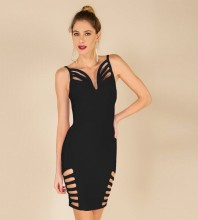 Rayon - Black Strapy Sleeveless Mini Side Cut Out Crossed Oem Bandage Dress H0002-Black