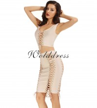 Rayon - Beige Halter Sleeveless 2 Piece Plain Cross Lacing Sexy Bandage Dress H0008-Beige