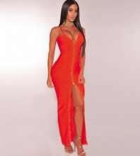 Rayon - Orange Strapy Sleeveless Maxi Beaded Front Slit Evening Bandage Dress H0031-Orange