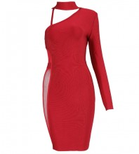 Rayon - Wine One Shoulder Long Sleeve Mini Mesh Cut Out Evening Bandage Dress H0036-Wine