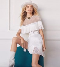 Rayon - White Round Neck Cap Sleeve Mini Tasseled Mesh Sexy Bandage Dress H0066-White