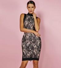 Rayon - Black Round Neck Sleeveless Over Knee Lace Fashion Bodycon Dress H0072-Black