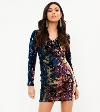 Rayon - Colorful V Neck Long Sleeve Mini Sequins High Quality Bodycon Dress H0073-Colorful