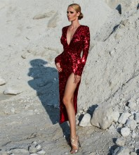 Rayon - Red V Neck Long Sleeve Maxi Sequins Side Slit Fashion Bodycon Dress H0075-Red