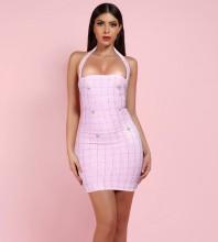 Pink Metal Ornamental Buckle Plaid Mini Sleeveless Halter Bodycon Dress H01022-Pink