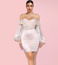 Apricot Backless Wrinkled Mini Long Sleeve Off Shoulder Bodycon Dress H01028-Apricot