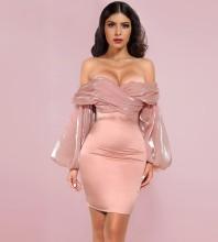 Pink Backless Wrinkled Mini Long Sleeve Off Shoulder Bodycon Dress H01028-Pink