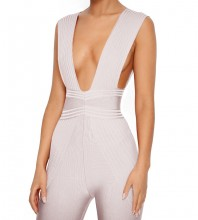 Rayon - Nude V Neck Sleeveless Maxi High Quality Bandage Jumpsuits H0111-Nude