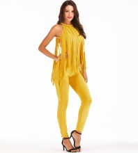 Rayon - Yellow Halter Sleeveless Maxi Tassels Decoration Beaded High Quality Bandage Jumpsuit H0123-Yellow