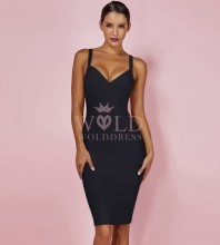 Rayon - Halter Sleeveless Mini High Quality Bandage Dress H0133-Black