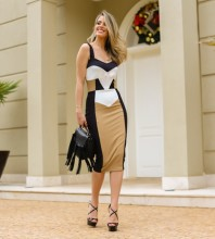 Ginger Strapy Sleeveless One Piece Match Color High Quality Bandage Dress H0161-Ginger