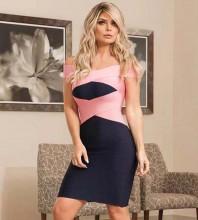 Rayon - Black Off Shoulder Cap Sleeve Over Knee Fashion Bandage Dress H0202-Black