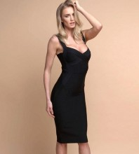 Rayon - Black V Neck Sleeveless Over Knee Strapy Fashion Bandage Dress H0203-Black