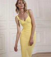 Rayon - Yellow V Neck Sleeveless Over Knee Strapy Fashion Bandage Dress H0203-Yellow