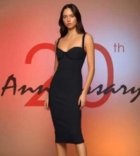 Rayon - Black Strapy Sleeveless Over Knee Party Bandage Dress H0204-Black