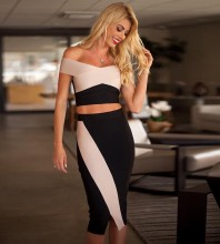 Rayon - Black Strapless Mid Sleeve 2 Piece Side Slit Bandage Dress H0212-Black