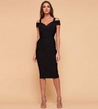 Rayon - Black Strapy Sleeveless Over Knee Bandage Dress H0216-Black