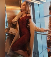 Rayon - Wine Strapy Sleeveless Over Knee Bandage Dress H0216-Wine