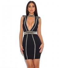 Rayon - Black V Neck Sleeveless Mini Metal Studded Bandage Dress H0217-Black