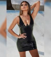Rayon - Green V Neck Sleeveless Mini Backless Bodycon Dress H0218-Green