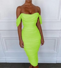 Rayon - Maxi Pleated Backless Green Off Shoulder Cap Sleeve Bodycon Dress H0229-Green