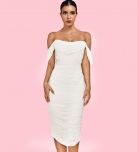 Rayon - White Lace Over Knee Mid Sleeve Strapless Bandage Dress H0229-White