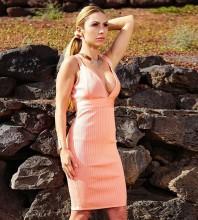 Rayon - Pink Strapy Mini Sleeveless V Neck Bandage Dress H0235-Pink