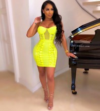 Rayon - Fluorescent Green Lace Up Mini Sleeveless Strapy Bandage Dress H0239-Fluorescent-Green