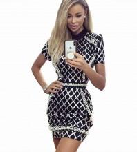 Rayon - Black High Neck Short Sleeve Mini Pearl Bodycon Dress H0258-Black