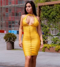 Yellow Cut Out Striped Knee length Sleeveless High Neck Bandage Dress H0269-Yellow