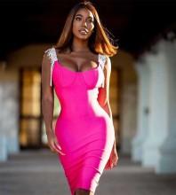 Strappy Rose Sleeveless Knee length Tassels Plain Bandage Dress H0337-Rose
