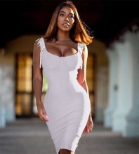 Strappy White Sleeveless Knee length Tassels Plain Bandage Dress H0337-White